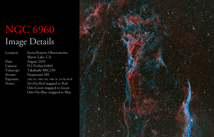 NGC 6960 – Portion of the NW Veil Nebula