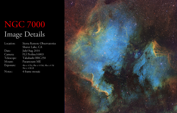 NGC 7000 – The North American & Pelican Nebulae