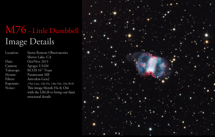 M76 – The Little Dumbbell Nebula